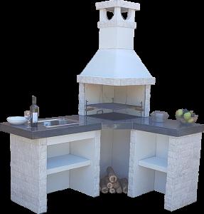 Барбекю Ксена с мивка и плот Плотове от гранит и облицовка от естествен камък.